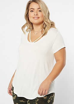 Plus Ivory Strappy V Neck Favorite Tee