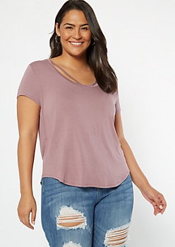 Plus Mauve Strappy V Neck Favorite Tee