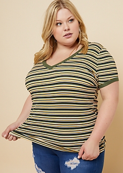 Plus Olive Striped V Neck Ribbed Knit Tee