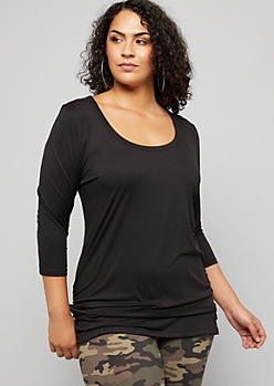 Plus Black Three Quarter Sleeve Ruched Side Tunic