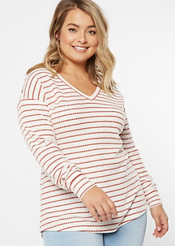 Plus Ivory Striped Crew Neck Waffle Knit Top