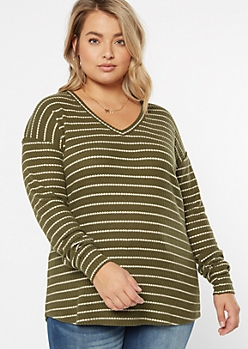Plus Burnt Orange Striped Crew Neck Waffle Knit Top