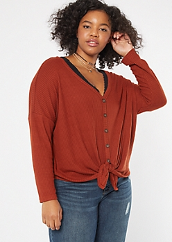 Plus Burnt Orange Waffle Knit Dolman Top