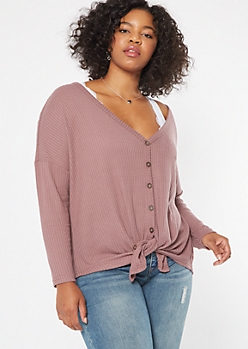 Plus Purple Waffle Knit Dolman Top
