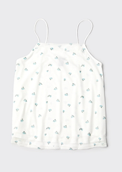 Plus White Ditsy Print Mesh Swing Tank Top