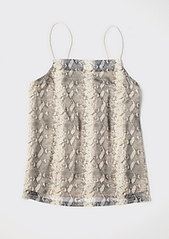 Plus Snakeskin Print Mesh Swing Tank Top