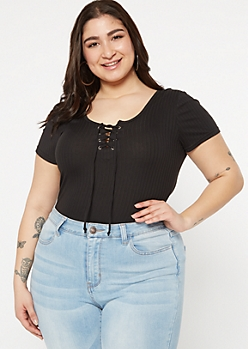 Plus Black Super Soft Lace Up Top