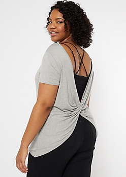 Plus Heather Gray Twist Back Tee