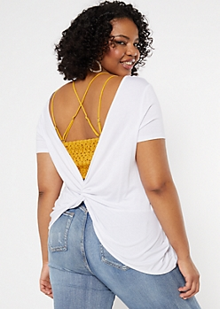 Plus White Twist Back Tee