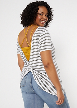 Plus Olive Striped Twist Back Tee