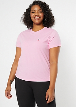 Plus Pink Cherry Embroidered Tee