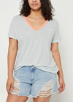 Plus Light Blue Uh Huh Honey Embroidered Tee