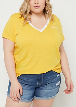 Plus Dark Yellow City Vibes Embroidered Tee