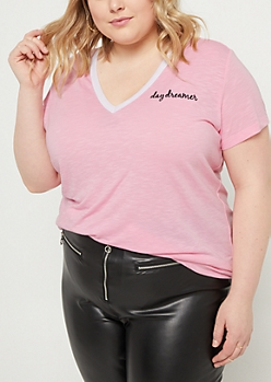 Plus Pink Daydreamer Embroidered Tee