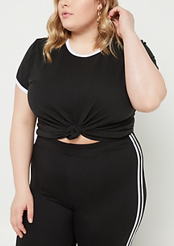 Plus Black Contrast Ringer Tee