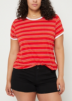 Plus Red Striped Ringer Tee
