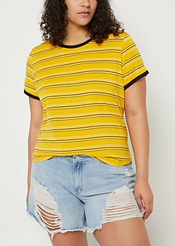 Plus Dark Yellow Striped Ringer Tee