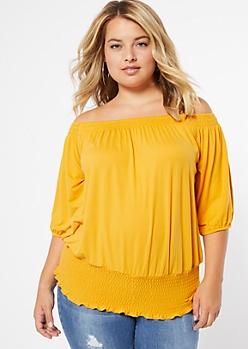 Plus Mustard Super Soft Bubble Smocked Top
