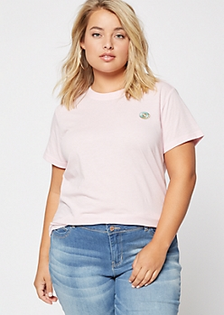 Plus Pink Donut Embroidered Tee