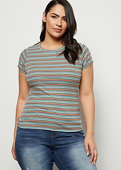 Plus Teal Striped Ribbed Knit Tee