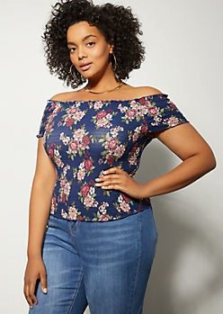 Plus Navy Floral Print Off The Shoulder Smocked Top