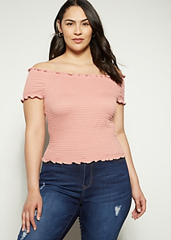 Plus Pink Off The Shoulder Smocked Top