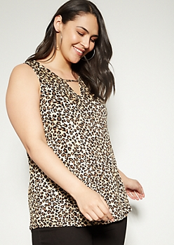 Plus Leopard Print Keyhole Tank Top