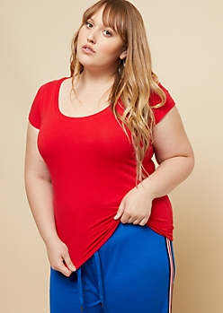 Plus Red Scoop Neck Basic Tee