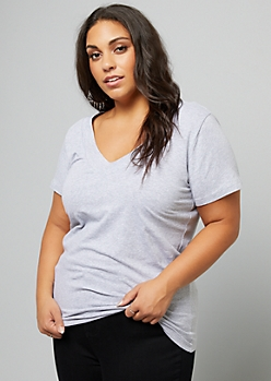 Plus Heather Gray Wide V Neck Fitted Tee