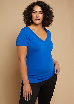 Plus Royal Blue Wide V Neck Fitted Tee