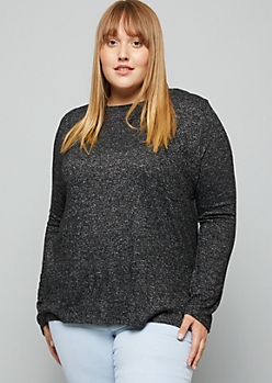 Plus Heather Black Soft Knit Pocket Top