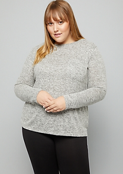 Plus Heather Gray Soft Knit Pocket Top