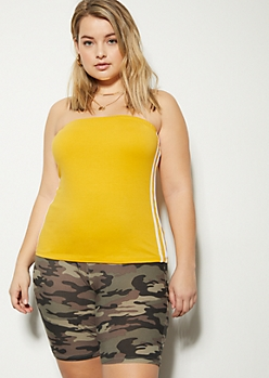 Plus Mustard Double Side Striped Tube Top