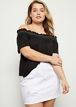 Plus Black Rainbow Smocked Off The Shoulder Top