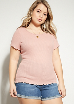 Plus Pink Waffle Knit Lettuce Edge Essential Tee