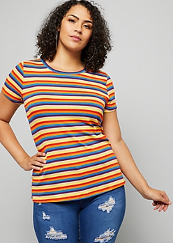 Plus Blue Double Striped Ribbed Knit Tee