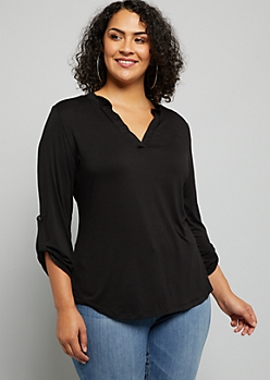 Plus Black V Neck Soft Knit Pullover Top