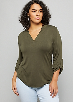 Plus Olive V Neck Soft Knit Pullover Top