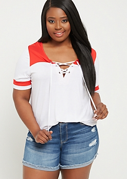 Plus Red Lace Up Football Tee