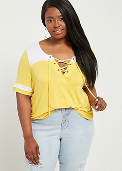 Plus Yellow Lace Up Football Tee