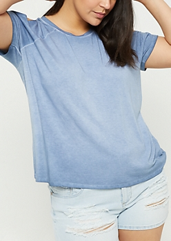 Plus Navy Acid Wash Cold Shoulder Raglan Tee