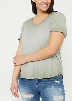 Plus Dark Olive Washed V-Neck Tee