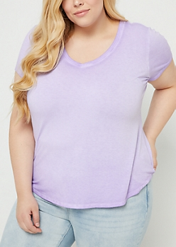Plus Lavender Washed V Neck Tee