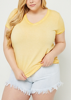 Plus Yellow Washed V Neck Tee