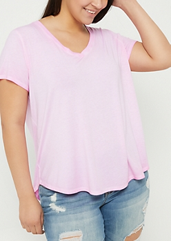 Plus Pink Washed V-Neck Tee