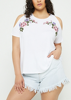 Plus White Embroidered Cold Shoulder Raglan Tee