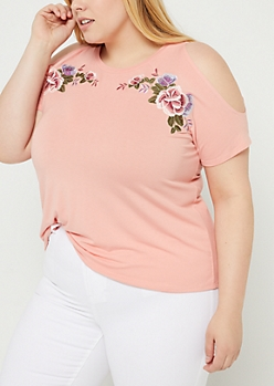 Plus Coral Embroidered Cold Shoulder Raglan Tee