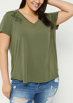 Plus Dark Olive Embroidered V-Neck Tee
