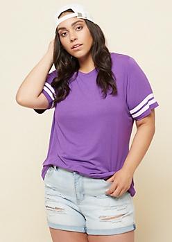 Plus Purple Athletic Stripe Loose Fit Tee