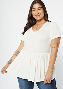 Plus Ivory V Neck Peplum Tee